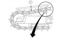 Vikšrinės technikos grandinių įtempimo procedūra (išskyrus CATERPILLAR techniką)