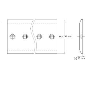 Peilio profilis dvibriaunis su skylėmis 150x20 mm